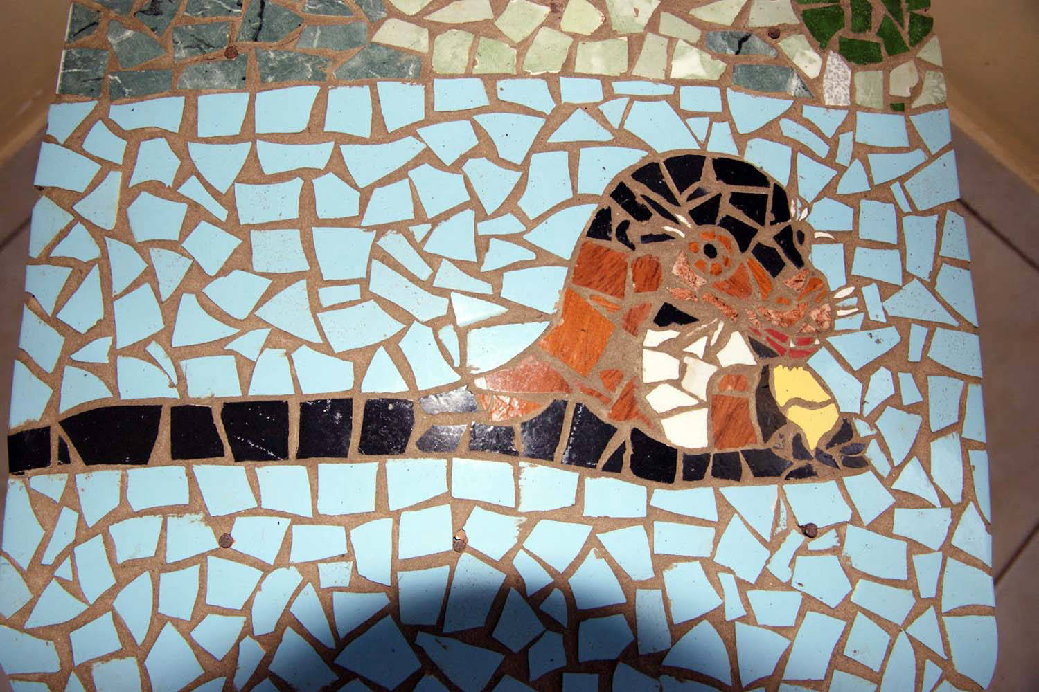 Mosaic on the floor with otter
